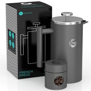 Coffee Gator gray insulated French press coffee maker and bean canister