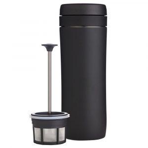 Portable French press coffee maker in a matte black finish