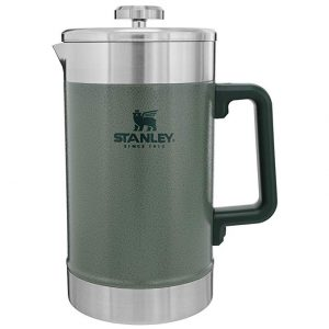 Durable French press coffee maker with a green plastic handle