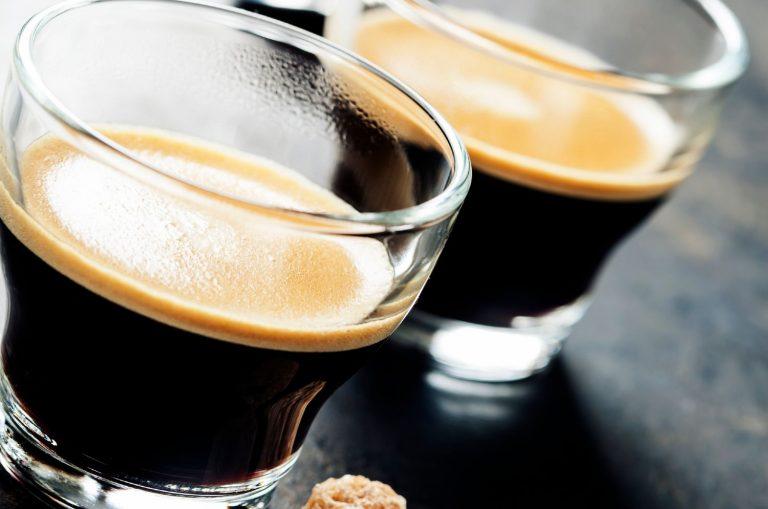 Freshly brewed espresso shots