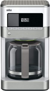 Braun KF6050WH BrewSense Drip Coffee Maker, White and Silver
