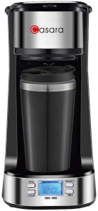 Casara Single Serve Coffee Maker, black/silver design with a backlit display at the base