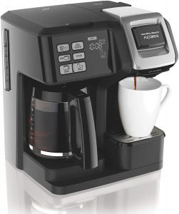 Hamilton Beach 49976 FlexBrew Coffee Maker for single servings and 12-cup carafe, black/silver design