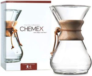 Chemex Pour-Over Glass Coffeemaker Classic Series With Wooden Handle and Leather Details