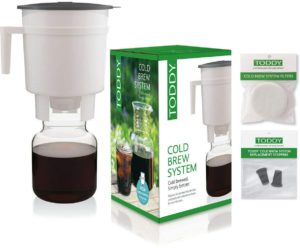 Toddy Cold Brew Coffee Maker System with extra filters and silicone stoppers in a bundle